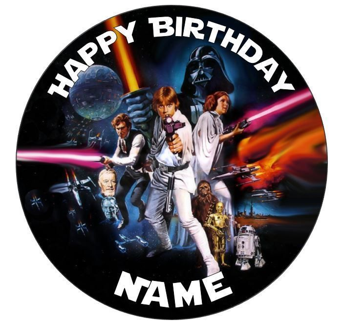 STAR WARS EDIBLE ROUND PERSONALISED BIRTHDAY CAKE TOPPER